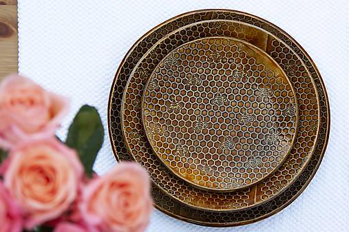 Set 3 tanierov - plytký, hlboký a dezertný - medová kolekcia