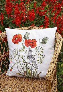 """Úžitkový textil - Vankúš (maľovaný poťah)""""vtáčik a maky"""" - 10086316_"""