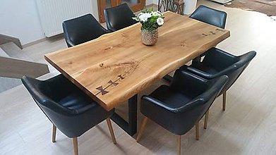 Nábytok - Čerešňový jedálensky stôl v štýle live edge - 10085466_
