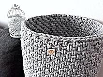 Košíky - Háčkovaný kôš Scandinavian šedobiely - 10087739_