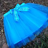 Detské oblečenie - Dětská tyrkysová tylová sukně s vločkami - 10086797_