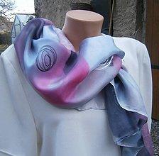 Šatky - Šedorůžová. Velký šátek 90 x 90 cm. - 10088851_