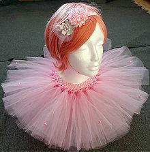 Detské oblečenie - Svetloružová tutu suknička s čelenkou - 10086899_