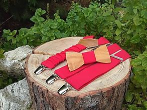Doplnky - Pánsky drevený motýlik a traky - 10088256_