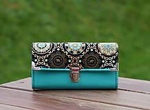 Peňaženky - Peněženka slon a mandala, tyrkysová, 18 karet, prostorná - 10086759_
