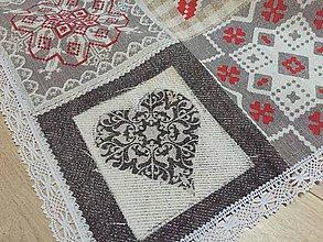 Úžitkový textil - patchworkový s čipkou - 10087475_