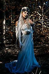 Ozdoby do vlasov - Modrá zimná kvetinová parta - 10085423_