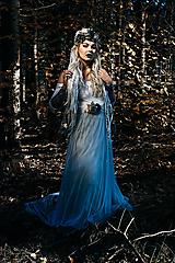 Ozdoby do vlasov - Modrá zimná kvetinová parta - 10085424_