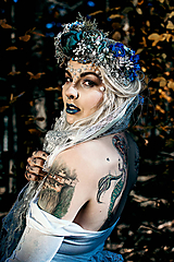 Ozdoby do vlasov - Modrá zimná kvetinová parta - 10085428_