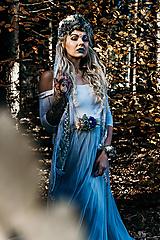 Ozdoby do vlasov - Modrá zimná kvetinová parta - 10085430_