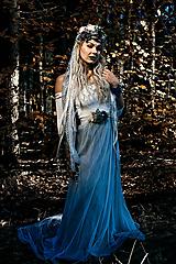 Opasky - Modrý zimný kvetinový opasok - 10085431_