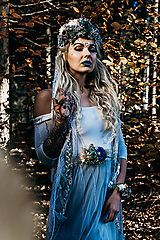 Opasky - Modrý zimný kvetinový opasok - 10085432_