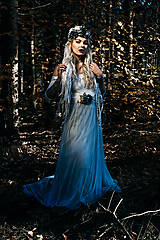 Opasky - Modrý zimný kvetinový opasok - 10085433_