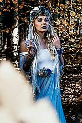 Opasky - Modrý zimný kvetinový opasok - 10085434_