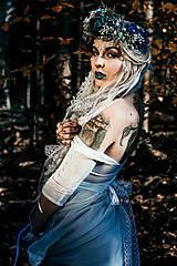 Opasky - Modrý zimný kvetinový opasok - 10085436_