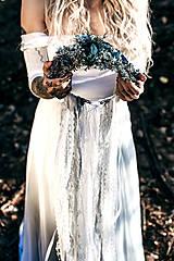Opasky - Modrý zimný kvetinový opasok - 10085449_