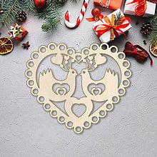 Dekorácie - Vianočná ozdoba srdce (Prírodná farba) - 10089673_