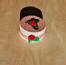 Krabičky - Krabička - šperkovnička - červený kvet - 10085632_