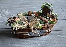 Dekorácie - zimný košík/dekorácia