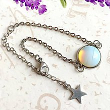 Náramky - Stainless Steel Opalite Simple Bracelet / Elegantný náramok s opalitom z chirurgickej ocele /1129 - 10092091_