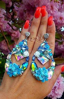 Náušnice - Náušnice modré kvety - 10093017_
