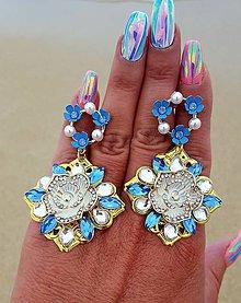 Náušnice - Náušnice modrý kvet - 10093067_