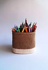 Košíky - Košík na ceruzky - Béžový | Hnedý | svetlý | veľký | Štvorec - 10093419_