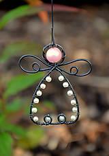 Dekorácie - Andělíček růžovo bílý - 10092093_