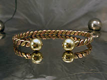 Šperky - Viking - zlato-medený náramok s guličkami - 10090008_