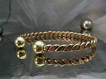 Šperky - Viking - zlato-medený náramok s guličkami - 10090010_