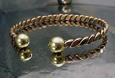 Šperky - Viking - zlato-medený náramok s guličkami - 10090011_