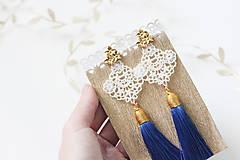 Náušnice - Náušnice so strapcom a čipkou - 10093976_