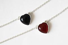 Náhrdelníky - Strieborný náhrdelník s achátom - Srdcuo - 10091507_