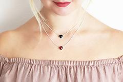 Náhrdelníky - Strieborný náhrdelník s achátom - Srdcuo - 10091510_