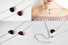 Náhrdelníky - Strieborný náhrdelník s achátom - Srdcuo - 10091511_