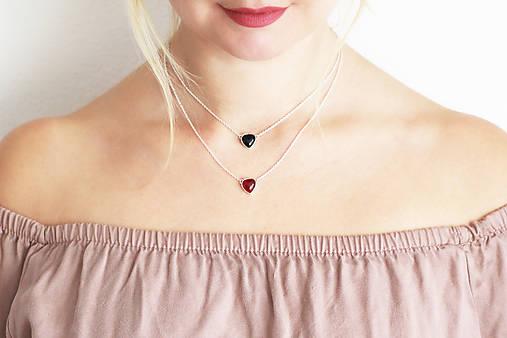 Strieborný náhrdelník s achátom - Srdcuo