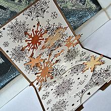 Papiernictvo - Popup vianočná pohľadnica, vločky - 10090200_