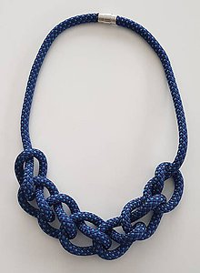 Náhrdelníky - Lanový náhrdelník tmavá modrá - 10090283_