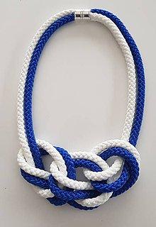 Náhrdelníky - Lanový náhrdelník modro biela - 10090307_