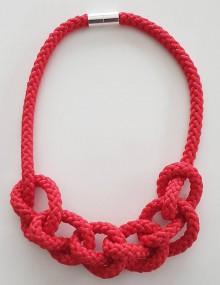 Náhrdelníky - Lanový náhrdelník  červený - 10090352_