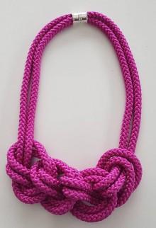 Náhrdelníky - Lanový náhrdelník  ciklamén - 10090366_