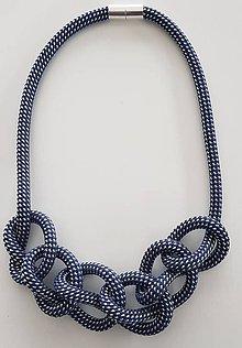 Náhrdelníky - Lanový náhrdelník  bodka biela - 10090371_