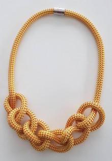 Náhrdelníky - Lanový náhrdelník horčica - 10090386_