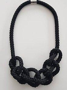 Náhrdelníky - Lanový náhrdelník čierny - 10090398_