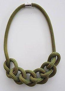 Náhrdelníky - Lanový náhrdelník  kaki - 10090409_