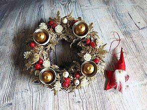 Dekorácie - zlaté midi kúzlo (4 sviečky Červená) - 10090927_