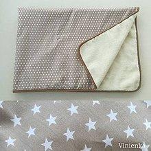 Úžitkový textil - Ovčie runo Deka vlnená HVIEZDIČKA béžová camel lemovka - 10091323_