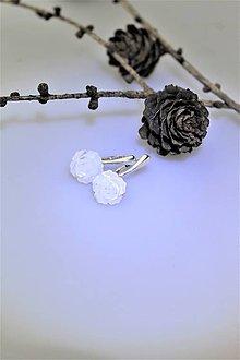 Náušnice - náušnice perleť kvietky v striebre Ag925/1000 - 10093152_