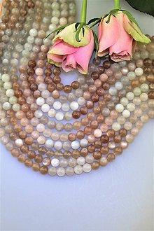 Minerály - AKCIA!!! mesačný kameň multicolor - celá šnúra (48ks korálok) - 10093331_
