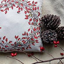 Úžitkový textil - Šípkový veniec ručne maľovaný - vankúš - 10093829_